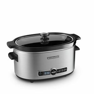 KitchenAid6-Quart Slow Cooker with Solid Glass Lid - Stainless Steel
