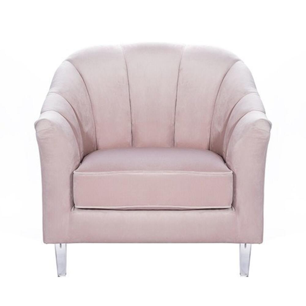 Channel Back Lounge Chair In Blush Velvet