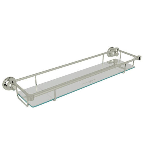 Holborn Wall Mount Glass Vanity Shelf - Polished Nickel