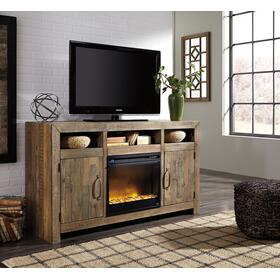 See Details - Sommerford LG TV Stand W/Fireplace Insert Brown