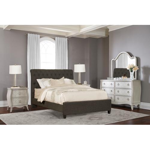 Napleton King Bed - Onyx Linen