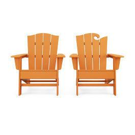 Polywood Furnishings - Wave 2-Piece Adirondack Chair Set with The Crest Chair in Vintage Tangerine