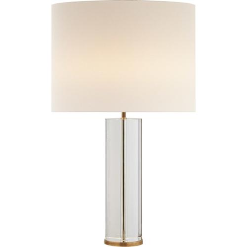 AERIN Lineham 30 inch 60 watt Crystal and Hand-Rubbed Antique Brass Table Lamp Portable Light