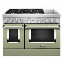 See Details - KitchenAid® 48'' Smart Commercial-Style Dual Fuel Range with Griddle - Matte Avocado Cream