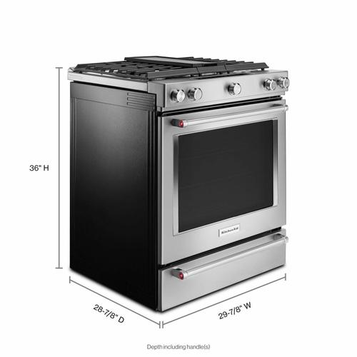Gallery - 30-Inch 5-Burner Dual Fuel Convection Slide-In Range with Baking Drawer - Stainless Steel
