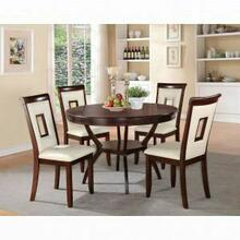ACME Oswell 5Pc Pack Dining Set - 71604 - Cream PU & Cherry