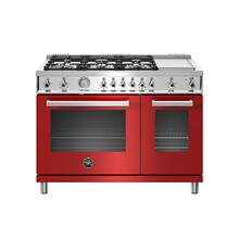 See Details - 48 inch All-Gas Range 6 Brass Burner and Griddle Rosso