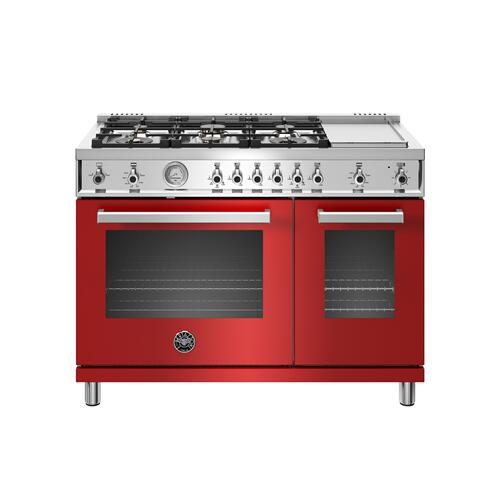 Gallery - 48 inch All-Gas Range 6 Brass Burner and Griddle Rosso
