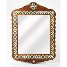 "This arched top wall mirror is an extraordinary feat of craftsmanship. Its wondrous Moroccan quatrefoil design is painstakingly created inlaying bone "" within a merranti wood frame "" one individual piece at a time. Its hand rubbed finish will elegantly blend with virtually any style while imparting a touch of bohemian chic in any space."