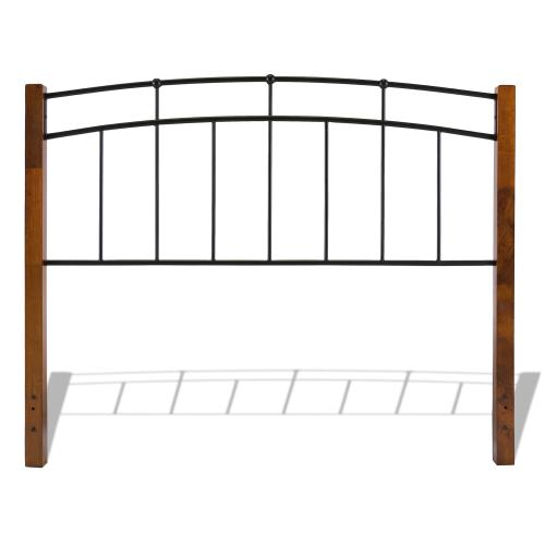 Fashion Bed Group - Benson Complete Metal Bed and Steel Support Frame with Maple Wood Posts and Sloping Top Rails, Black Finish, King