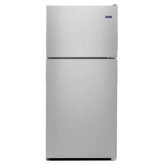 Maytag 33-Inch Wide Top Freezer Refrigerator with PowerCold® Feature- 21 Cu. Ft. Monochromatic Stainless Steel