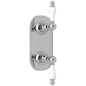 "Polished Chrome Arcana 1/2"" Thermostatic/Diverter Control Trim with Arcana Series Only Ornate White Porcelain Lever Product Image"