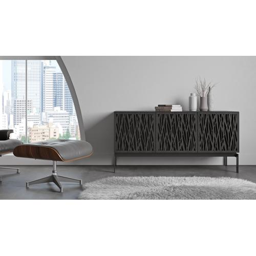 Gallery - Elements 8777 Console Storage Console in Wheat Doors Charcoal Stained Ash