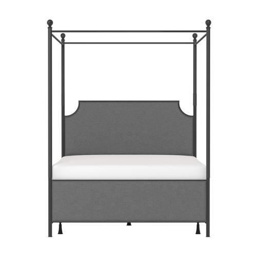 Mcarthur Queen Metal and Upholstered Canopy Bed, Matte Black With Gray Fabric