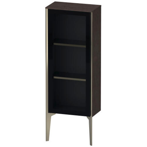 Semi-tall Cabinet With Mirror Door Floorstanding, Brushed Dark Oak (real Wood Veneer)