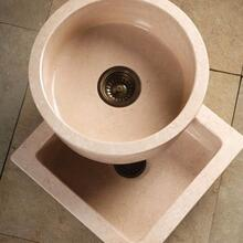 Entertainment Sinks Papiro Cream Marble / Square Prep Sink