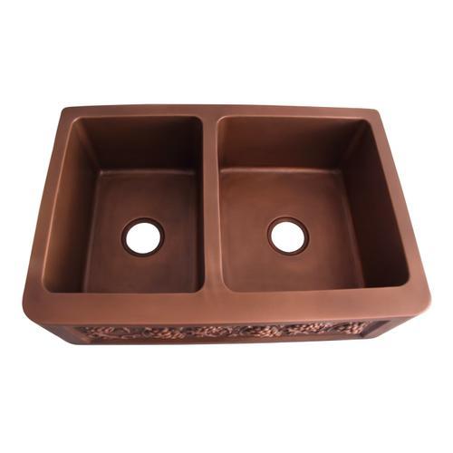 """Concord Double Bowl Copper Farmer Sink - 33"""""""