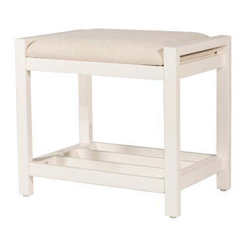 Hillsdale Furniture - Amelia Wood Non-swivel Vanity Stool - White