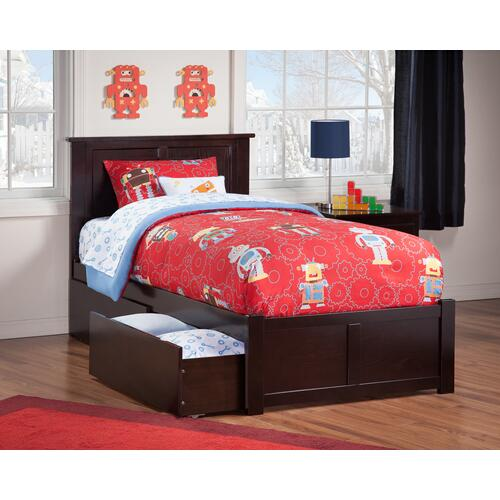 Atlantic Furniture - Madison Twin Flat Panel Foot Board with 2 Urban Bed Drawers Espresso