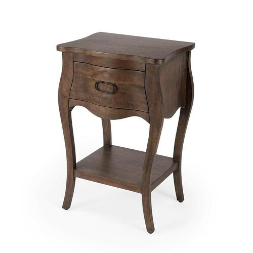 Butler Specialty Company - Crafted from mango wood solids and wood products in a natural mango finish, this nightstand is perfect for stowing bedside essentials. This lovely nightstand showcases a single drawer with iron hardware, a scalloped apron and lower display shelf.