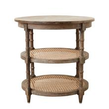"""Product Image - 23-1/2"""" Round x 24""""H Mango Wood Table w/ Cane Shelves"""