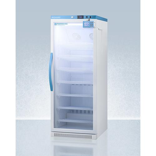 Performance Series Pharma-vac 12 CU.FT. Upright Glass Door All-refrigerator for Vaccine Storage With Factory-installed Data Logger, With Antimicrobial Silver-ion Handle and Hospital Grade Cord With 'green Dot' Plug
