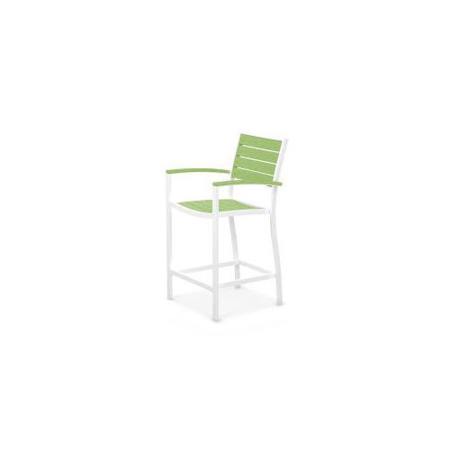 Polywood Furnishings - Eurou2122 Counter Arm Chair in Satin White / Lime