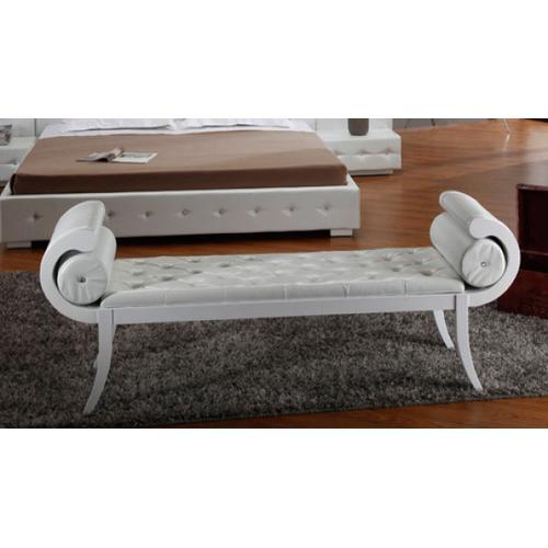 VIG Furniture - Divani Casa Monte Carlo White Leatherette Bench