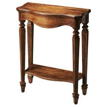The slim, carved legs of the dark toffee Cheshire table add beauty to your home. The rich brown, distressed finish over oak veneer really shows class. Display your favorite decor and family photos on this console table.