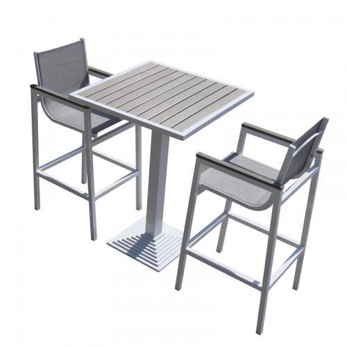 VIG Furniture - Renava Gulf Outdoor White & Grey Bar Table Set