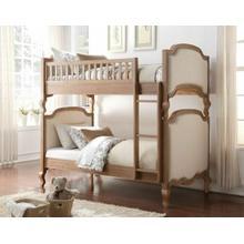 ACME Charlton Twin/Twin Bunk Bed - 37650 - Cream Linen & Salvage Oak