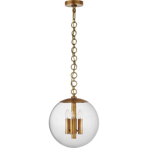 AERIN Turenne 4 Light 14 inch Hand-Rubbed Antique Brass Globe Pendant Ceiling Light, Medium