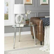 ACME Phlox End Table - 80642 - Chrome & Clear Glass