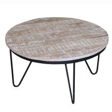 Round Cocktail Table - Natural Reclaimed/Iron Finish