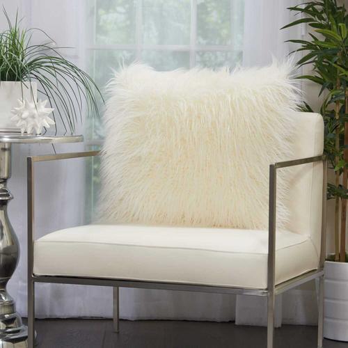 """Faux Fur Bj101 White 20"""" X 20"""" Throw Pillow"""