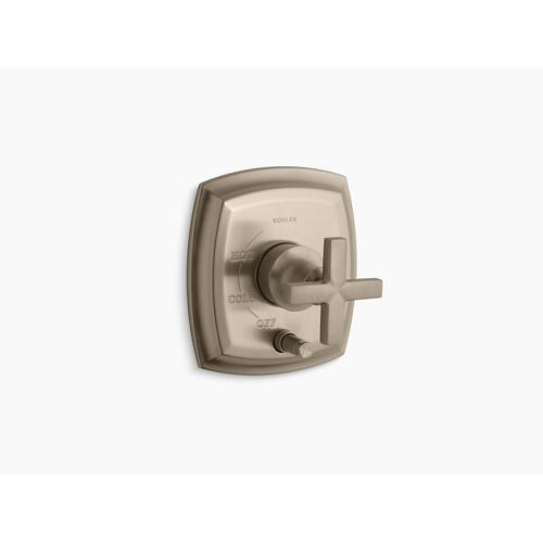 Kohler - Vibrant Brushed Bronze Rite-temp Pressure-balancing Valve Trim With Push-button Diverter and Cross Handles, Valve Not Included