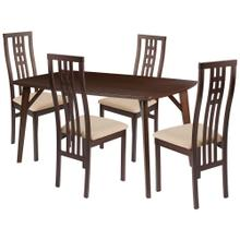 5 Piece Espresso Wood Dining Table Set with High Triple Window Pane Back Wood Dining Chairs - Padded Seats