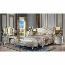 ACME Picardy Queen Bed - 27880Q - Fabric & Antique Pearl