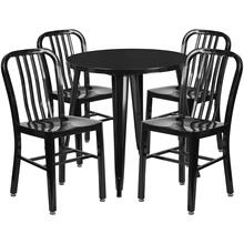 30'' Round Black Metal Indoor-Outdoor Table Set with 4 Vertical Slat Back Chairs