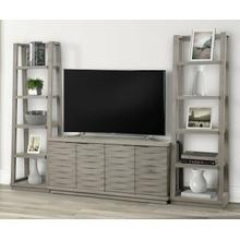See Details - PURE MODERN 63 in. Console w/ Pair of Angled Etagere Bookcase Piers
