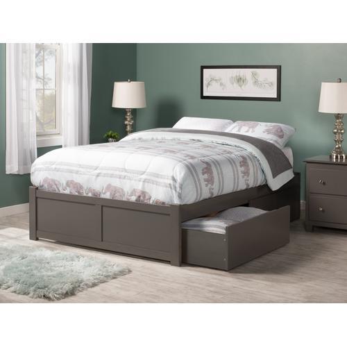 Atlantic Furniture - Concord Full Flat Panel Foot Board with 2 Urban Bed Drawers Atlantic Grey