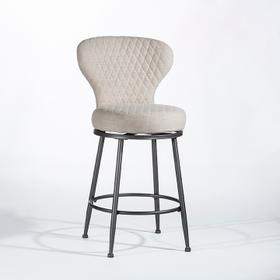 Melange Upholstered Counter Height Stool Ivory Fabric Charcoal Metal