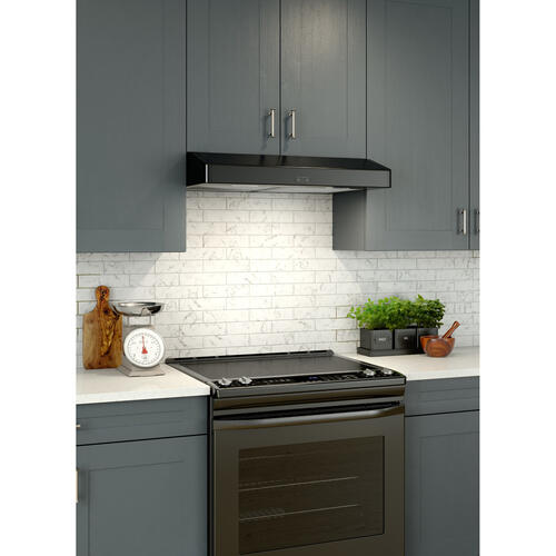 Broan® Elite 30-Inch Convertible Under-Cabinet Range Hood, Black