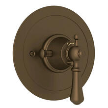 Georgian Era Round Thermostatic Trim Plate without Volume Control - English Bronze with Metal Lever Handle
