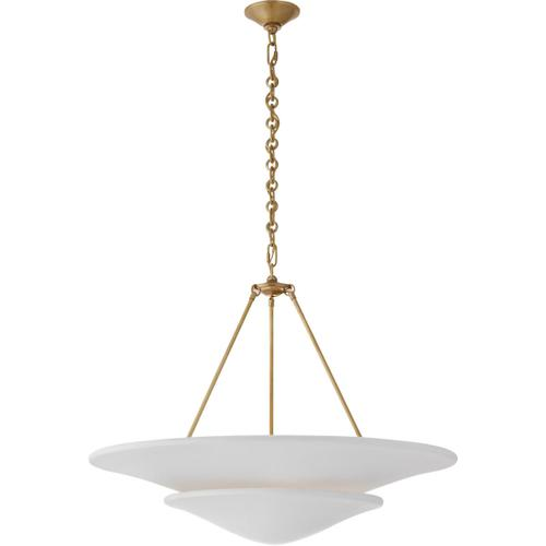 AERIN Mollino 6 Light 33 inch Hand-Rubbed Antique Brass Tiered Chandelier Ceiling Light, Large