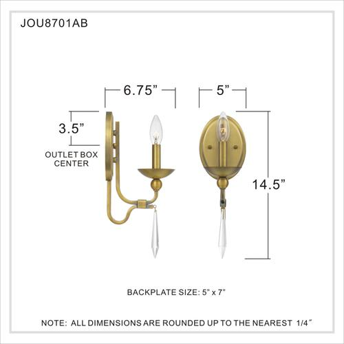 Quoizel - Joules Wall Sconce in Aged Brass