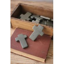 See Details - set of six hand carved stone crosses \ dark grey