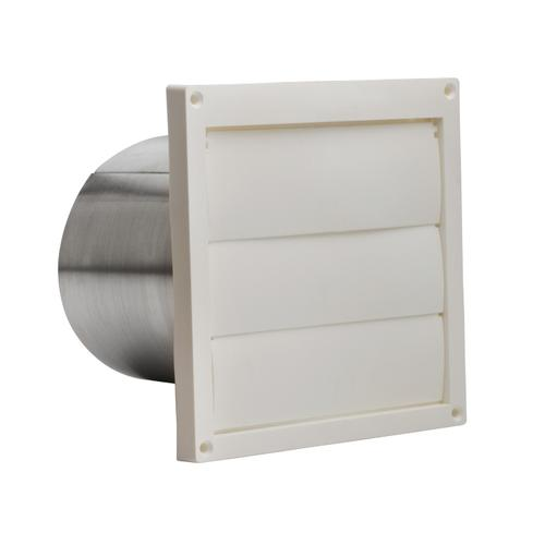 Broan-NuTone® Wall Cap, White Plastic Louvered, 6-Inch Round Duct
