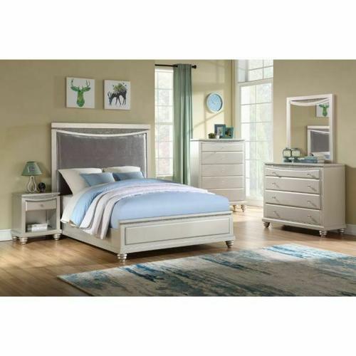 ACME Maverick Full Bed - 31805F - Glam - Velvet, Wood (Poplar), MDF - Velvet and Platinum