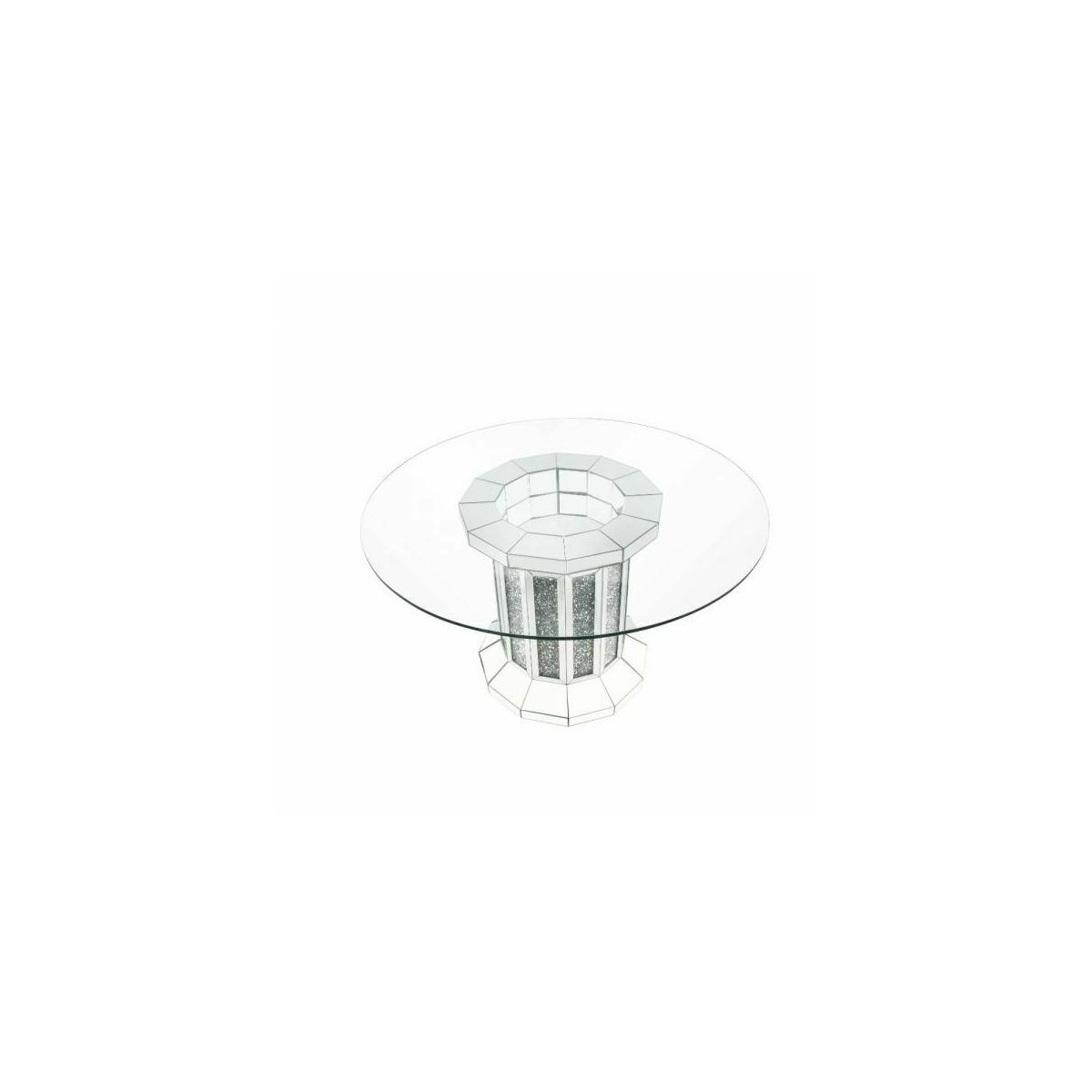 ACME Noralie Dining Table - 72140 - Glam, Vintage - Mirror, Glass, MDF, Faux Diamonds (Acrylic) - Mirrored and Faux Diamonds
